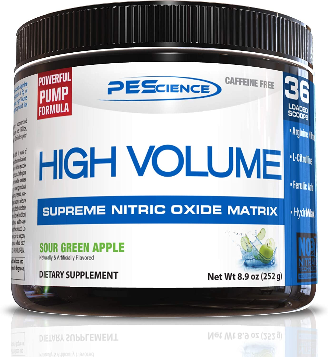 PEScience High Volume Nitric Oxide Booster Pre Workout Powder with L Arginine Nitrate, Green Apple, 36 Scoops, Caffeine Free: Health & Personal Care