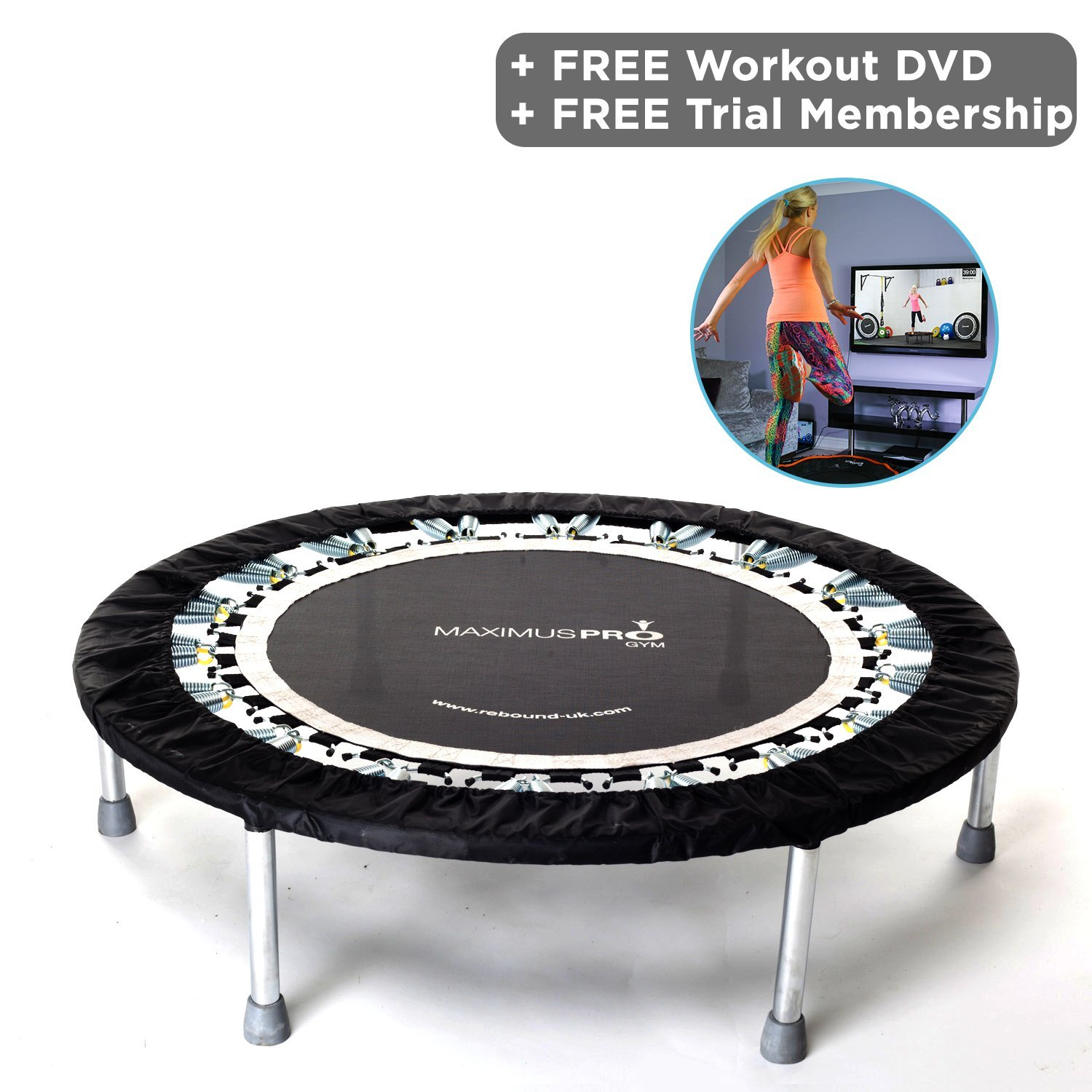 5b566b814bfe1 Rebound UK High quality Professional Gym & Studio Rebounder - Mini  Trampoline - 150kgs User Weight - Folding legs + Rebounding DVD included:  Amazon.co.uk: ...