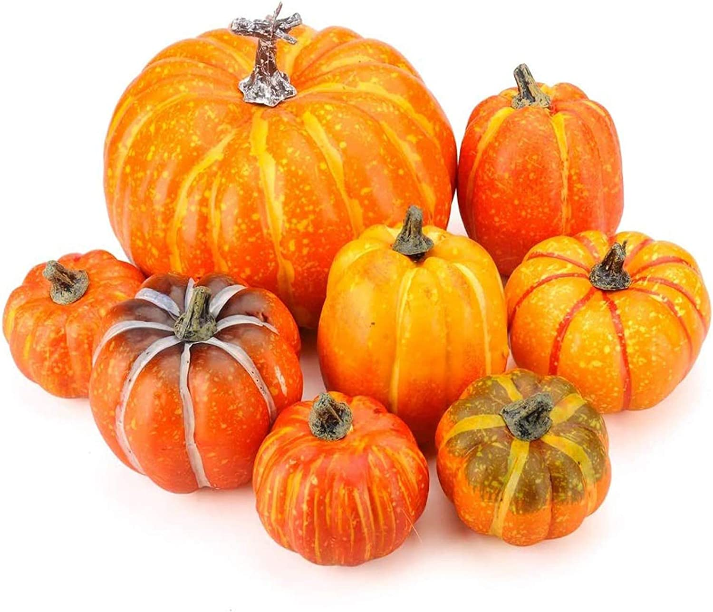 Meiliy 8pcs Artificial Pumpkins Fake Pumpkin Fall Decor for Harvest Decorations Autumn Halloween Thanksgiving Decoration