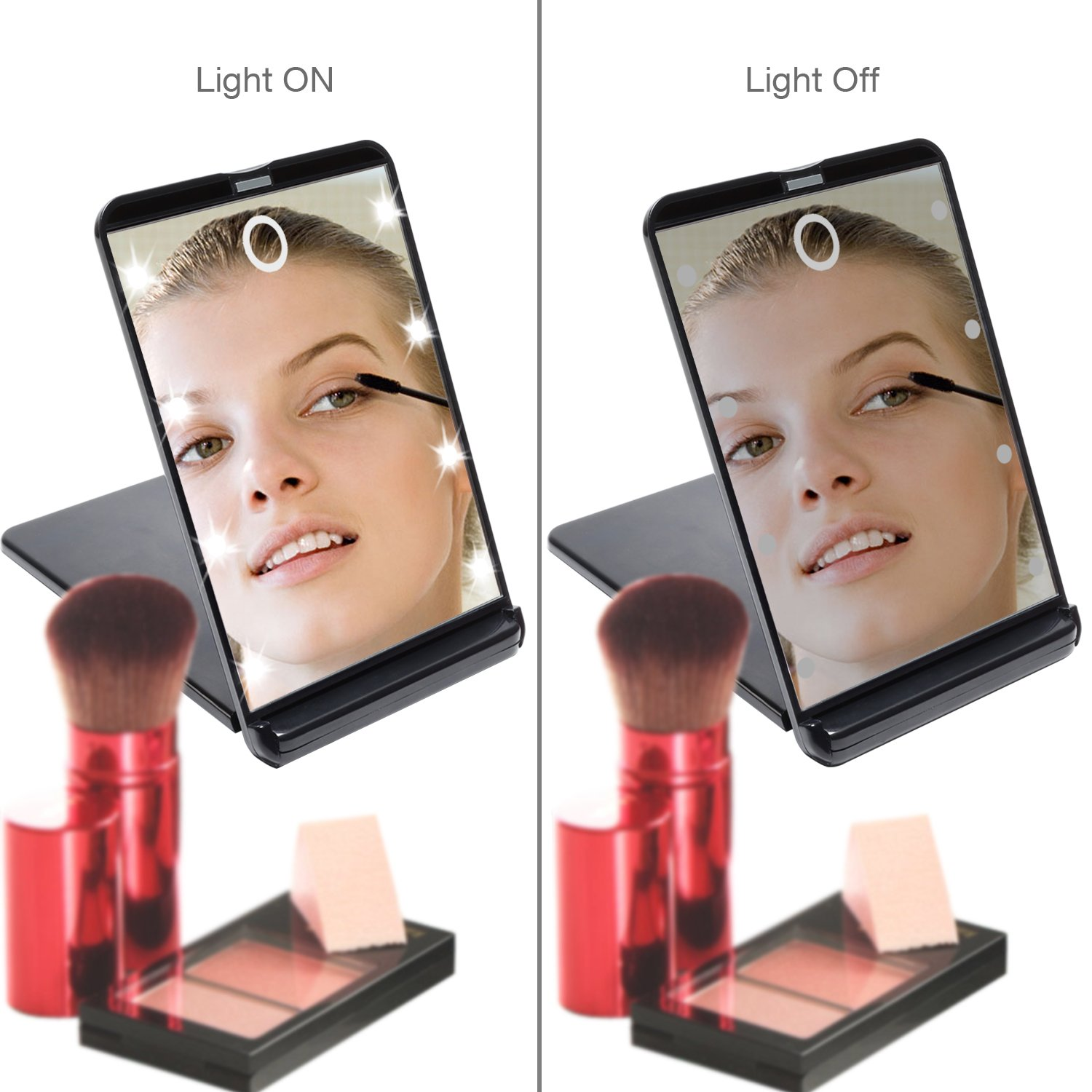 Amazon Com Hotlife Led Lighted Makeup Mirror With  Dimmable Led Lights Touch Switch Travel Mirror Compact Mirror Beauty