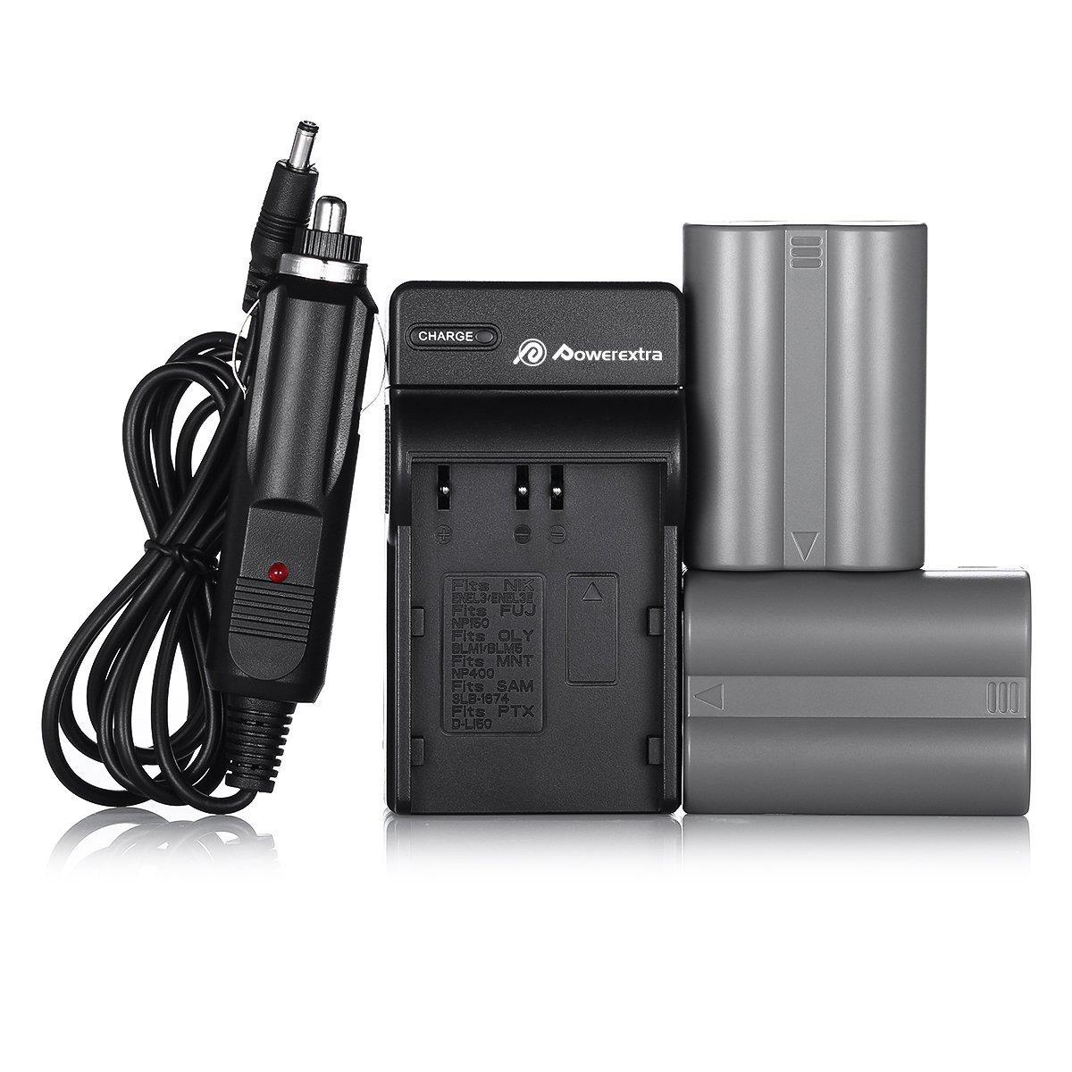 EN-EL3E Powerextra 2X Replacement Nikon EN-EL3E Battery & Charger Compatible with Nikon D50, D70, D70s, D80, D90, D100, D200, D300, D300S, D700 D900 Digital Cameras (Free Car Charger Available)