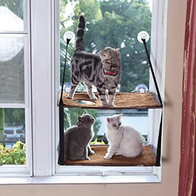 LIFIS Cat Window Perch Large Kitties Sunny Bed Up to 55lb Stable Metal Frame Soft Mats Cat Face Hammock Perfect