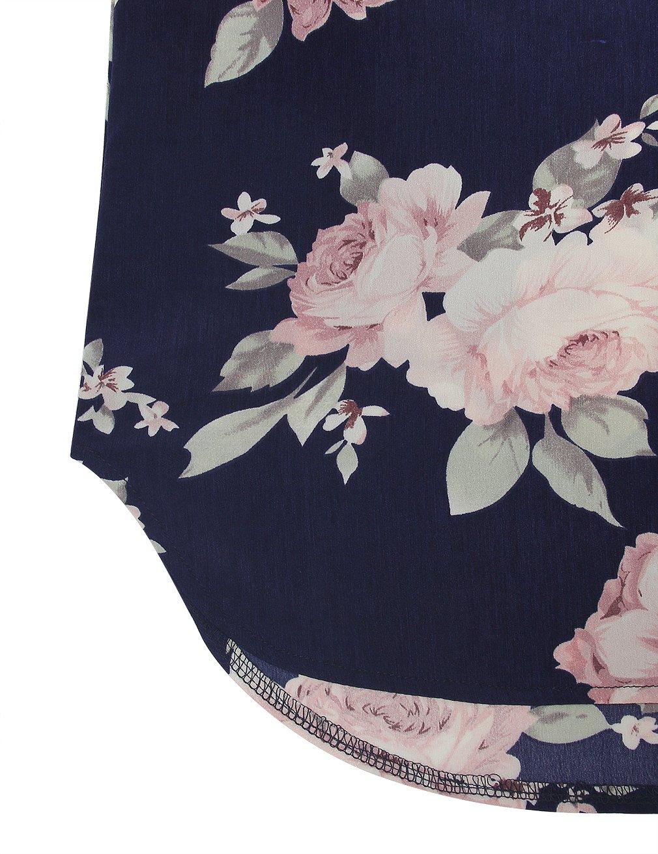 Youtalia Casual Women Blouses Tops, Plus Size Business V Neck Long Sleeve Chiffon Tshirt Multicolor Blue Medium by Youtalia (Image #5)