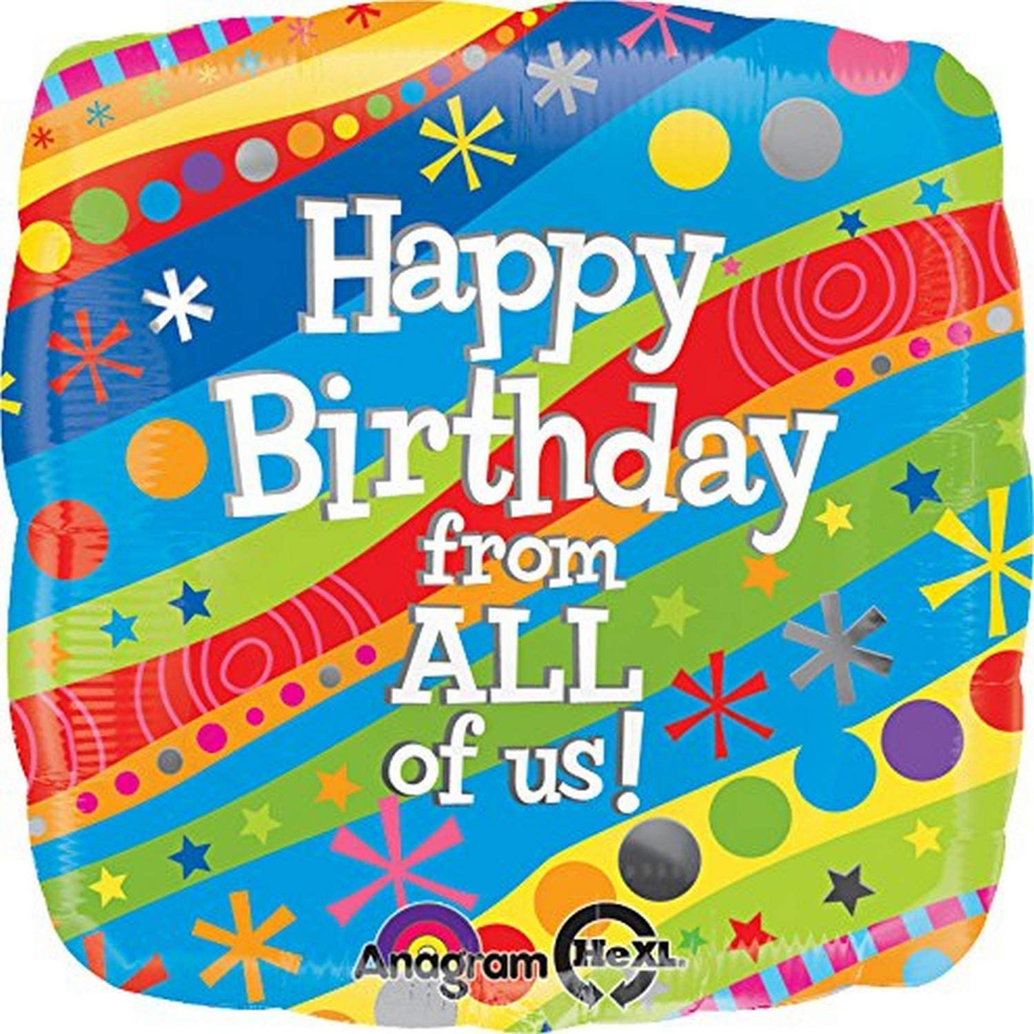 Anagram International Hx Happy Birthday from All of Us Balloon Multicolor