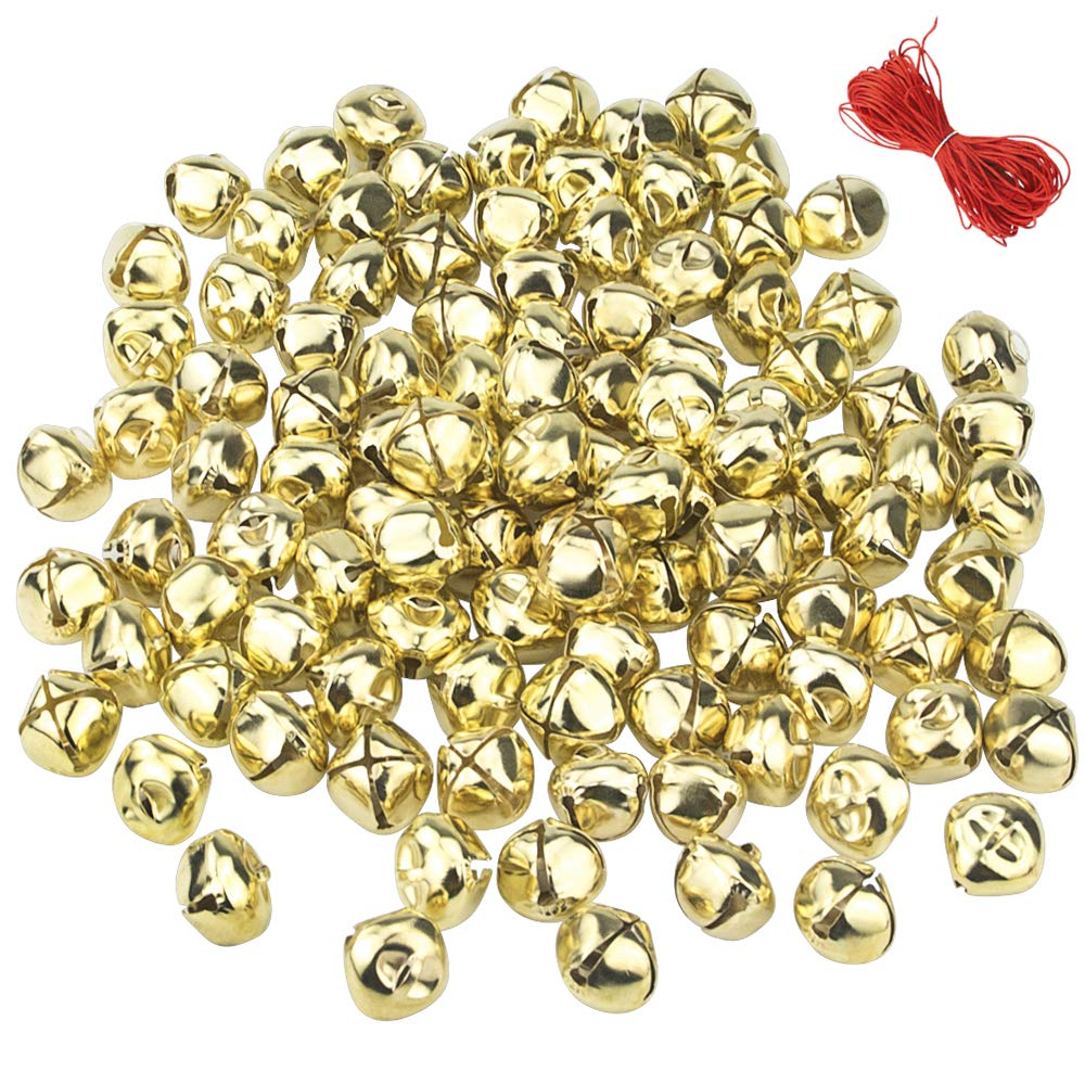 Outuxed 1 Inch Jingle Bells Christmas Gold Bells Craft ( 50 Pack ) for Festival Decoration DIY Craft & 20-Meter Red Cord 4334198107