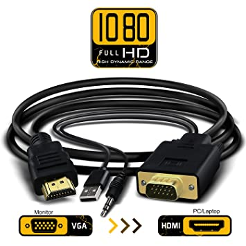 Amazon.com: VGA to HDMI Adapter Cable with 3.5mm Audio,VGA to HDMI ...