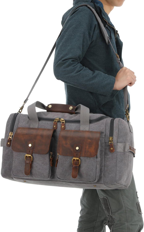 Plambag Leather Canvas Duffle Bag Oversized Overnight Weekend Luggage Bag PB117GY