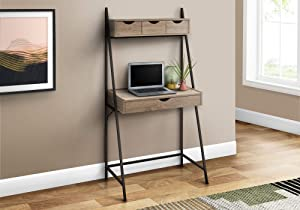 Monarch Specialties Ladder Leaning Modern Hutch-4 Drawers Metal Frame for Home or Office Laptop Table Computer Desk, 32