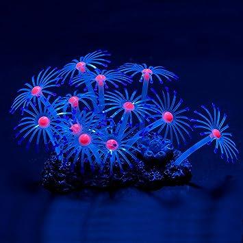 UEETEK Brillante efecto Artificial Coral planta decorativa para peces tanque acuario adorno (púrpura)