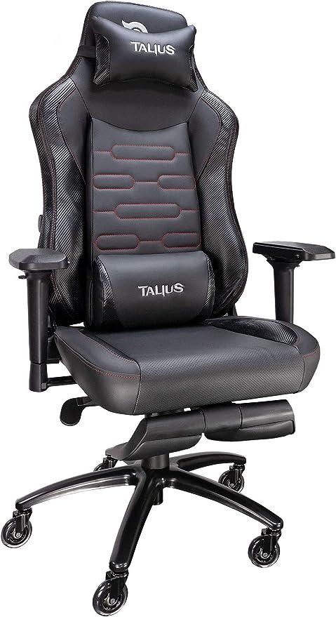 Todo para el streamer: Talius Konda Silla Gaming Profesional Carbono Negra/Roja, con reposapiés Extraible, Ajuste Lumbar, Inclinación y Altura Regulable, reposabrazos 4D Ajustables