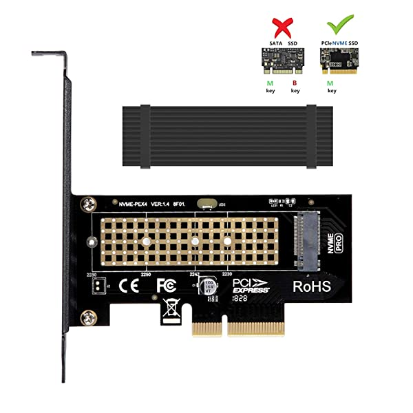 M.2 NVME to PCIe 3.0 x4 Adapter with Aluminum Heatsink Solution (Color: M.2 NVME to PCIe Adapter)