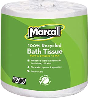 product image for Marcal Small Steps 100% Recycled Two-Ply Bathroom Tissue, 2-Ply, 336 Sheets - Includes 48 Rolls.