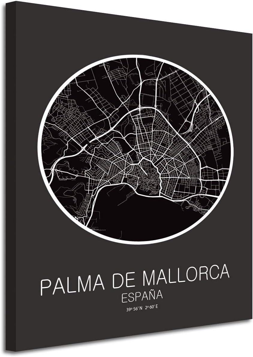 Foto Canvas Cuadro Mapa Palma de Mallorca España en Lienzo Canvas ...