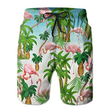 6de2b89360 Image Unavailable. Image not available for. Color: Tropical Forest Flamingo  Mens Lightweight Printing Quick Dry Beach Shorts Swim Trunk