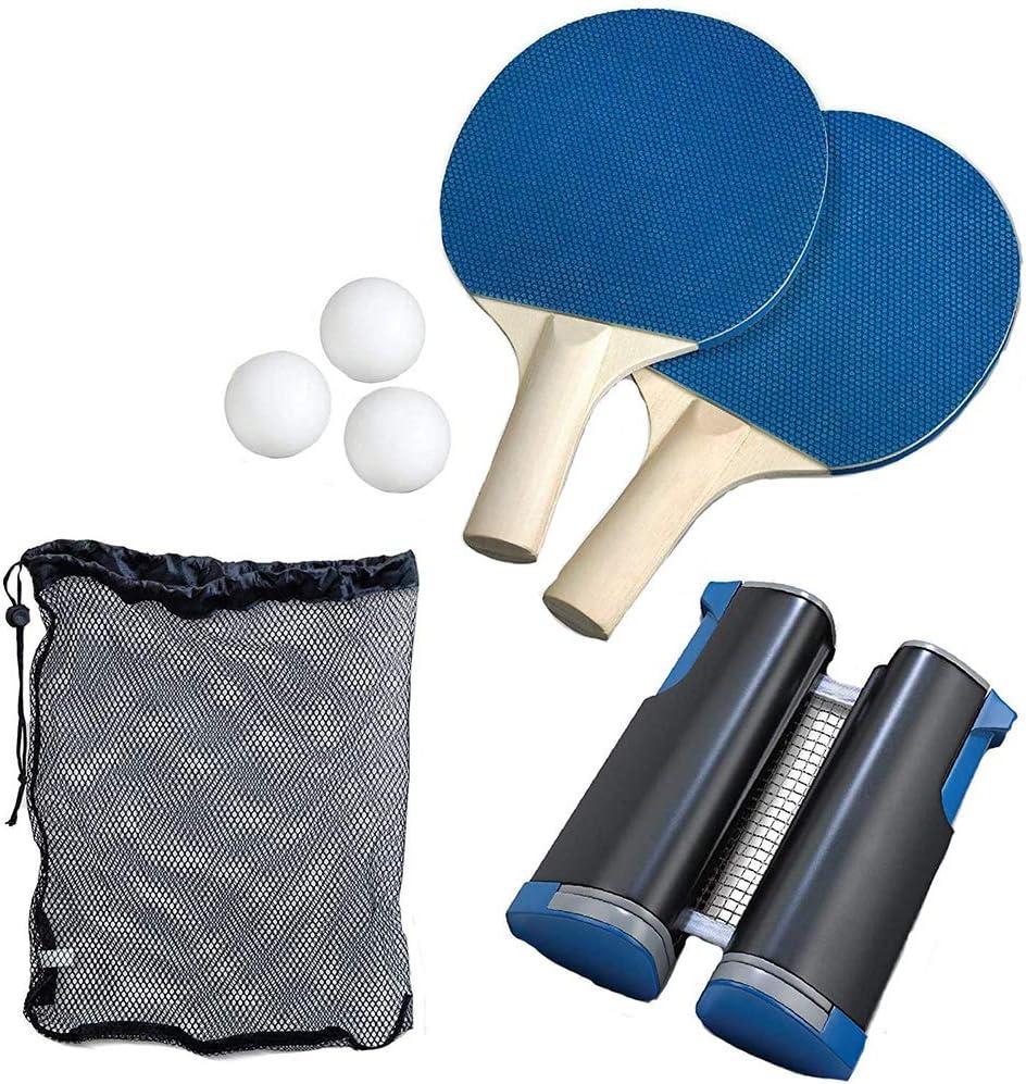 4YANG Juego de Tenis de Mesa portátil, Equipo de Ping Pong con 2 Raquetas, 3 Pelotas y una Red retráctil, Juegos para niños en Interiores/Exteriores, adecuados para la Escuela, la Familia