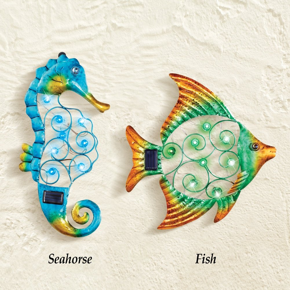Solar Lighted Sea Animals Metal Wall Decor Sculpture Decor (fish)