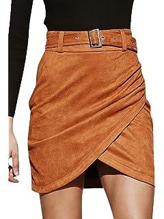 15de420d02 Season 4 Women's Faux Suede Wrap High Waist Bodycon Pencil A Line Mini Skirt  with Belt