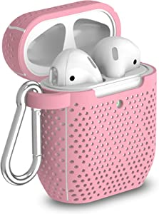 TalkWorks Hard Cover Case for AirPods - Protective Skin for AirPods Keychain Case Clip Compatible with Apple AirPods Carrying Case Series 1 & 2 - Pink
