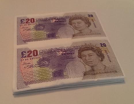 Tovaglioli Di Carta A Forma Di Banconote Da 20 Sterline 20 Pezzi