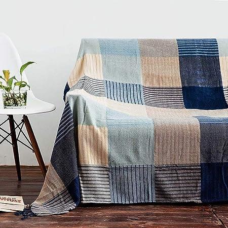 LUNANA Manta algodón Natural con patrón de Espiga de la Marca Algodon Manta de Hilo de algodón Suave Manta de Cama sofá y sofá - 220X260cm: Amazon.es: Hogar