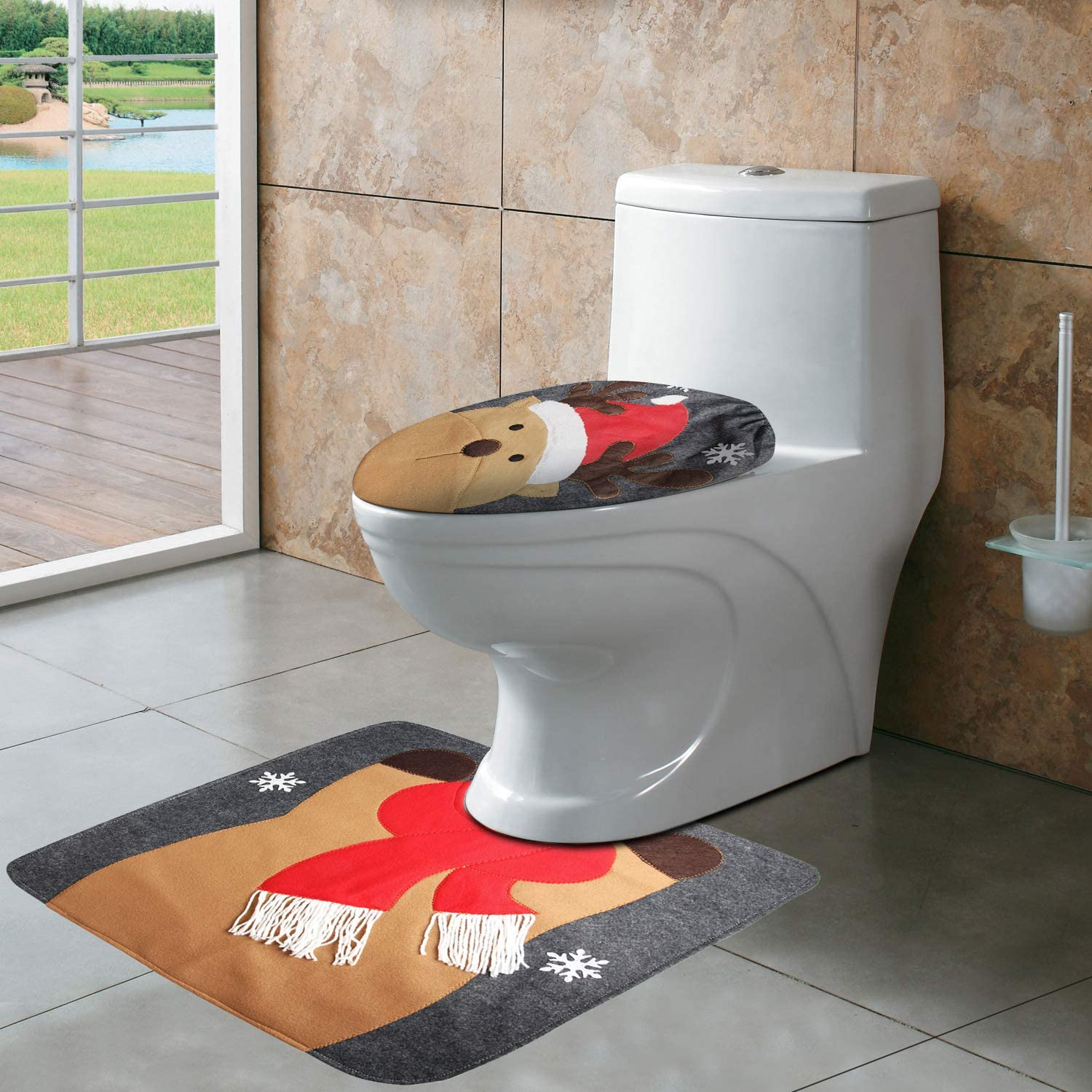 CrtWorld Christmas Toilet Seat Cover and Rug Set Reindeer Toilet Seat Cover for Christmas Bathroom Sets(Reindeer Toilet Cover)
