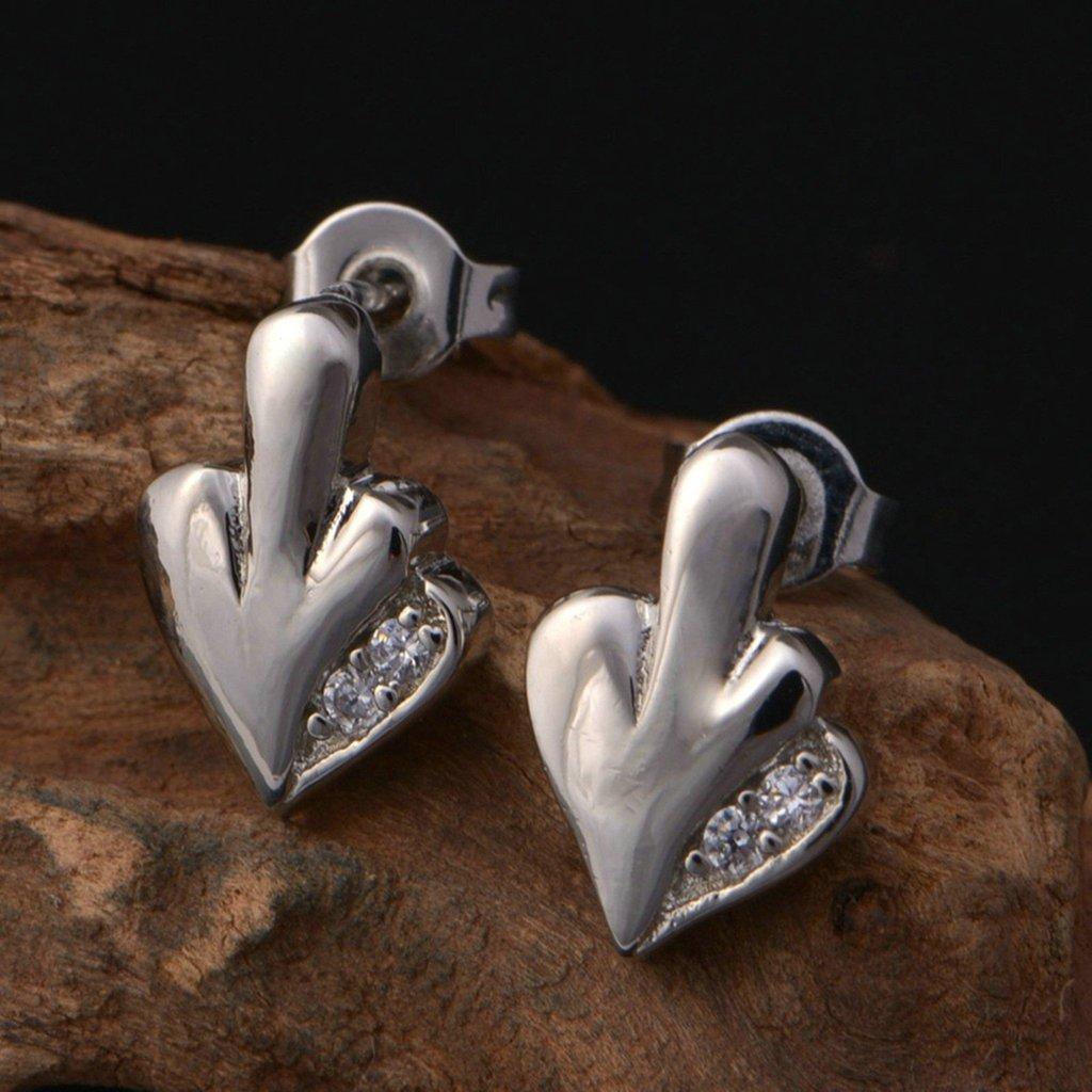 Daesar Silver Plated Stud Earrings Womens Silver Earring Cubic Zirconia Earrings Pave CZ Earring