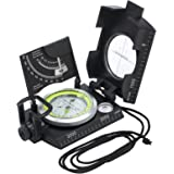 Proster Multifunction Compass Waterproof Navigation Compass Clinometer with Fluorescent Scale Sighting Compass Inclinometer with Bag for Hiking Camping Climbing Exploring Geology Outdoor Activities