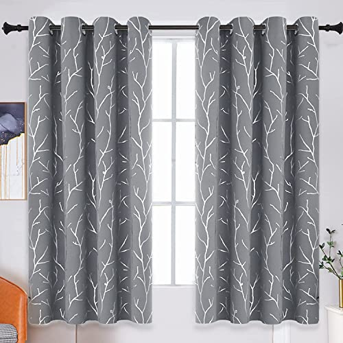 BUHUA Bedroom Blackout Curtains Grommet Top Drapes Thermal Insulated 2 Panel Sets Grey Blackout Window Curtain