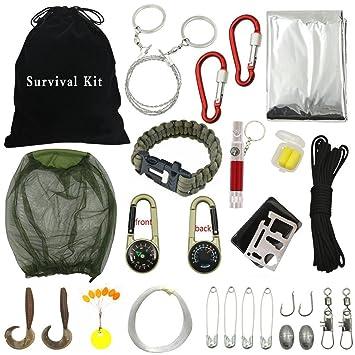 Kits de supervivencia, fozela todos los kits 18-in-1 Outdoor SOS supervivencia