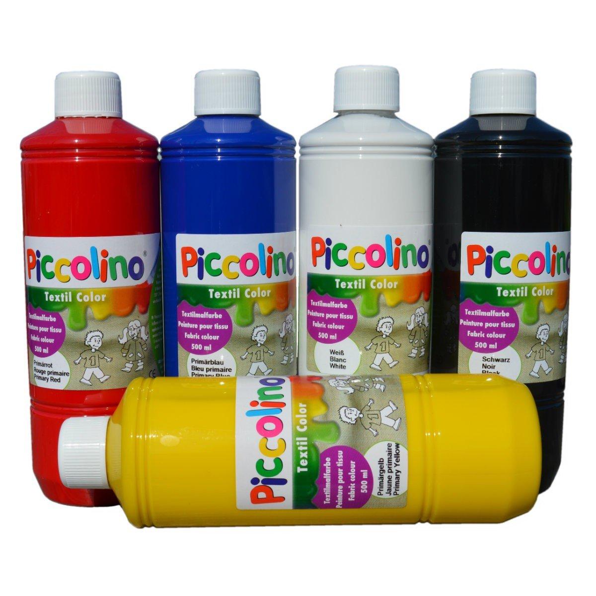 Piccolino textil veces Colores Set - colores primarios 5 x 500 ml - Plástico veces Colores Primario de color rojo, primario de amarillo, primario de azul, ...