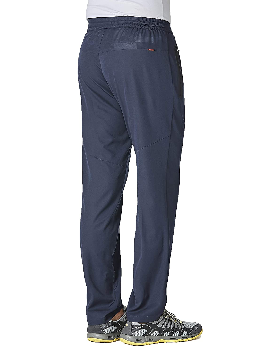MAGCOMSEN Mens Lightweight Running Pants Open Bottom Drawstring Breathable Quick Dry Pants with Zipper Pockets