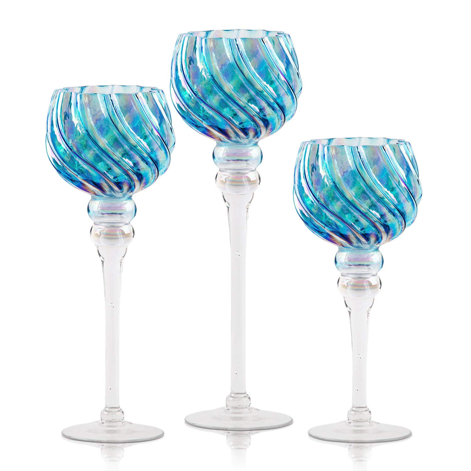 Hurricane Candle Holders Glass Set   3-Piece Blue Tall & Attractive Votive, Pillar & Tealight Long Stem Candleholders   Ideal for Wedding Centerpiece, Home Decor, Parties, Table Settings & Gifts