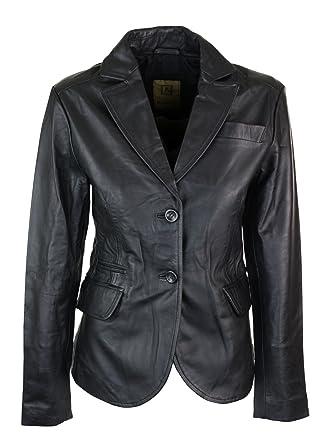 san francisco def86 f7755 Giacca Aderente da Donna e Ragazza Stile Blazer Vintage in Vera Pelle Nera  nero