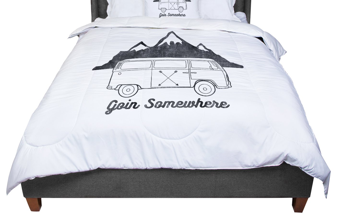 KESS InHouse Draper Going Somewhere W White Typography King 104 X 88 Cal King Comforter