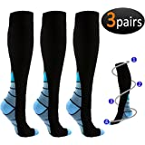 REEHUT 3 Pairs Compression Socks (20-30mmHg) for Men & Women - Great for Running, Nursing, Medical, Athletic, Edema, Flight Travel, Pregnancy and Shin Splints