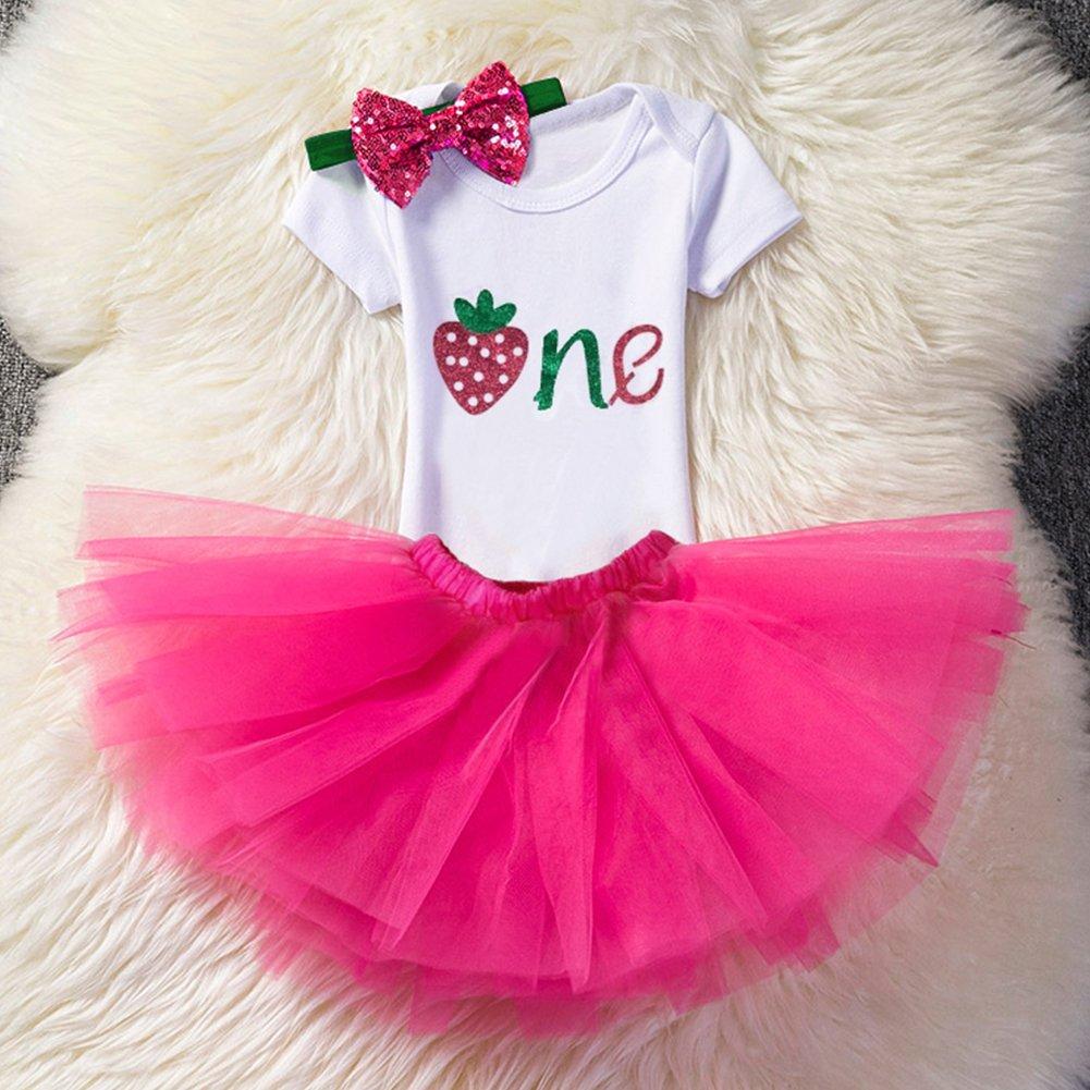 764c1c792d7 ... Baby Girls 1st Birthday Cake Smash 3pcs Outfits Set Cotton Romper  Bodysuit+Tutu Dress+ ...