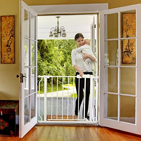 Cyttengo Multi-Use Metal Baby Gate Pet Gate 22 Wide Opening Easy Walk-Through Single-Hand Access Easy Set Up No Tools Required Fit Opening 29 to 34 Wide for Baby Dogs Cats Bear 80 Pounds