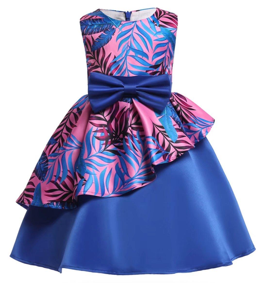 AYOMIS Litter Big Girl Flower Dress Princess Bow Party Wedding Tutu Gowns(Flower-Blue,4-5Y)
