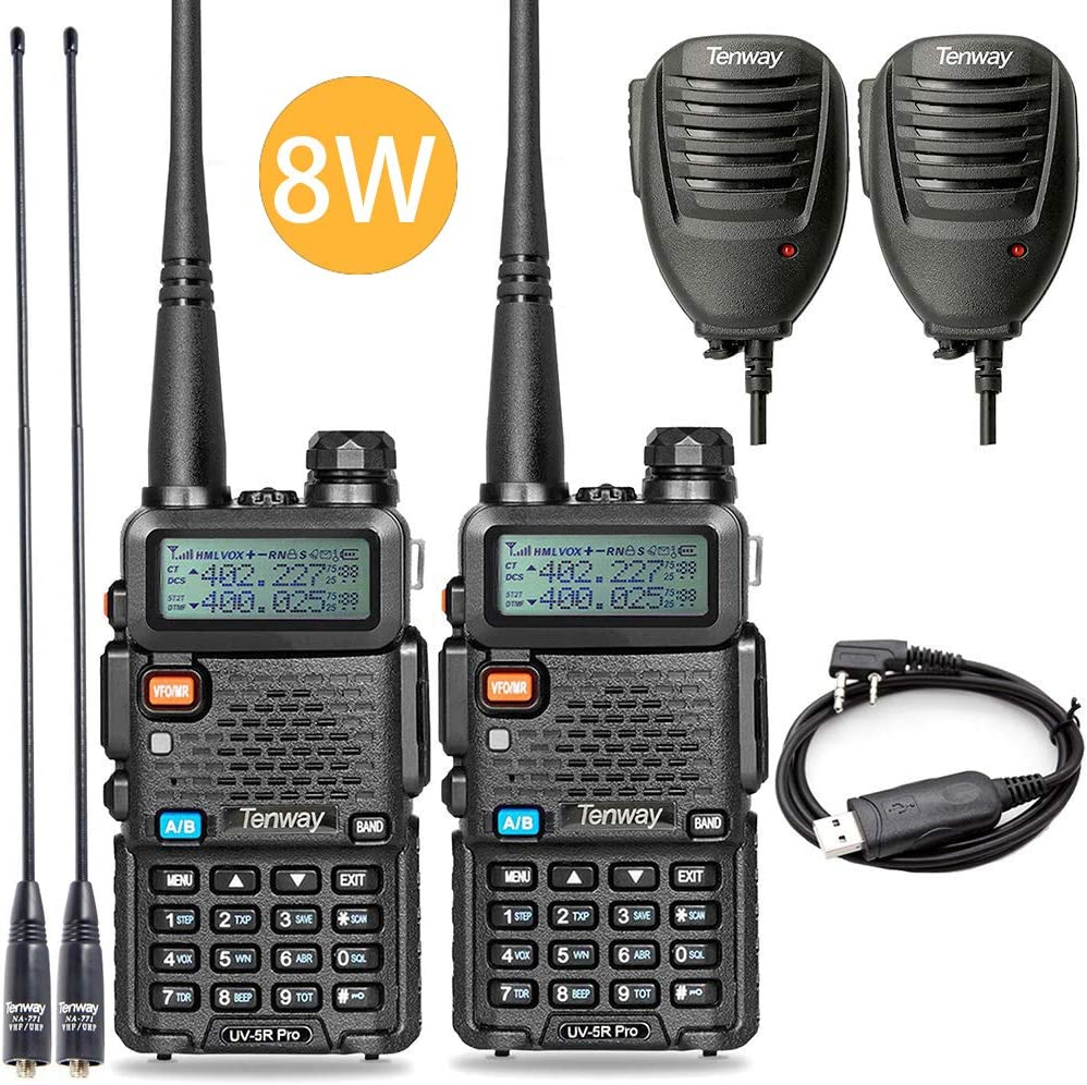 Ham Radio Walkie Talkie UV-5R Pro 8-Watt Dual Band Two Way Radio with Ham Radio Handheld Speaker Mic and NA-771 Antenna 2Pack and One USB Programming Cable