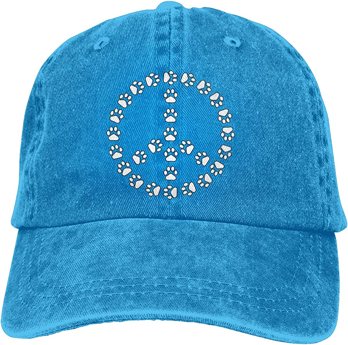 Paw Print Peace Sign Pawprint Adult Personalize Denim Outdoor Sports Hat Adjustable Baseball Cap