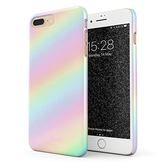 finest selection 5820f 1037b Glitbit Compatible with iPhone 7 Plus / 8 Plus Case Pastel Rainbow Unicorn  Colors Ombre Pattern Holographic Tie Dye Pale Kawaii Aesthetic Thin Design  ...
