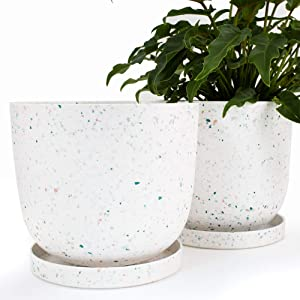 AUBURY White Indoor Plant Pots - 9 and 10 inch Planters with Drainage, Sturdy and Strong Designer Flower Pot Set with Saucers Suited for Medium to Large Sized Houseplants, Perfect for Plant Stands