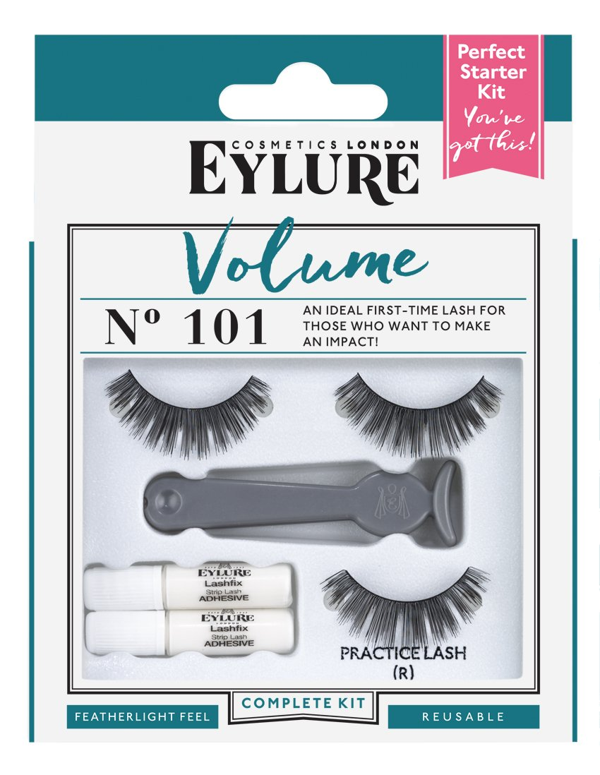 21c7337d39f Amazon.com: Eylure Volume False Eyelashes Starter Kit, Style No. 101,  Reusable, Adhesive Included, 1 Pair: Beauty