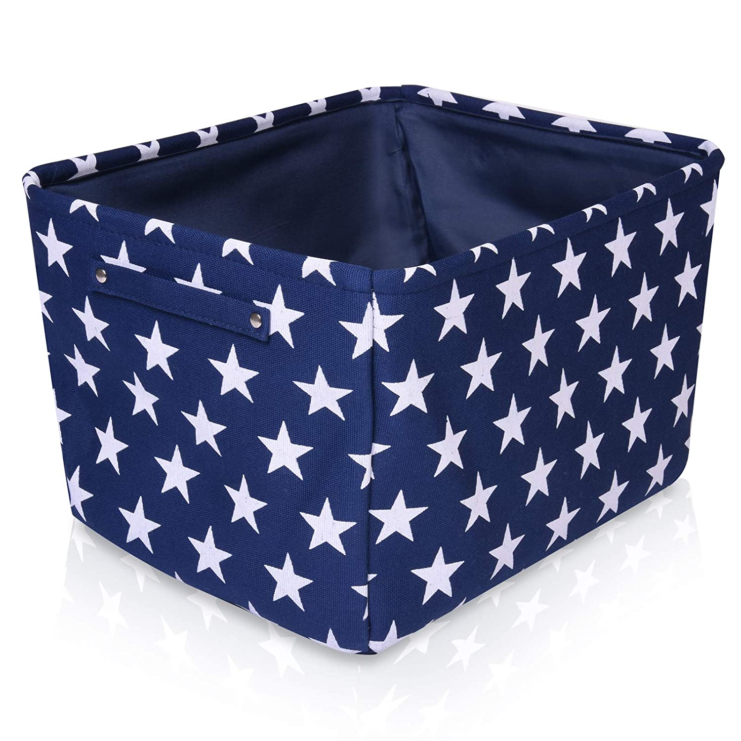 Blue Star Canvas Storage Basket - High Quality Rectangle Fabric Basket with White Stars – Perfect for Household Storage, Fabrics or Toys. Size: 40cms x 30cms x 25cms For the Love of Leisure