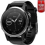 Garmin Fenix 5S Multisport 42mm GPS Watch - Silver with Black Band (010-01685-02) + 1 Year Extended Warranty