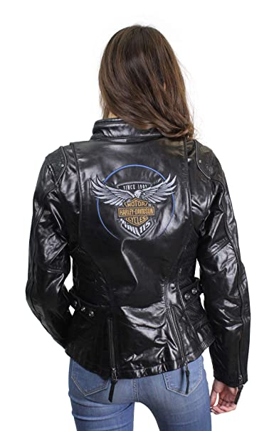 Harley-Davidson Womens 115th Anniversary Reflective with Contrast Stitching Leather Jacket 98010-18VW