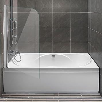 Mampara para bañera Homelux, mampara plegable, mampara para ducha plegable, cristal templado de 6mm con Lotuseffekt®: Amazon.es: Bricolaje y herramientas