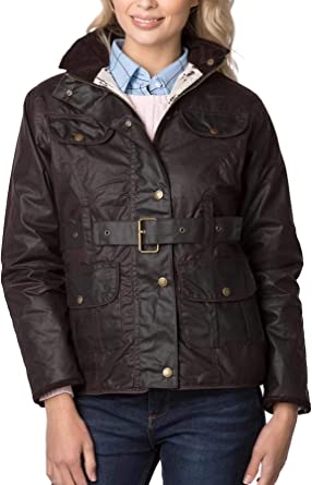 Ladies Belted Wax Jacket Waxed Cotton Women/'s Country Coat High Waist Rydale
