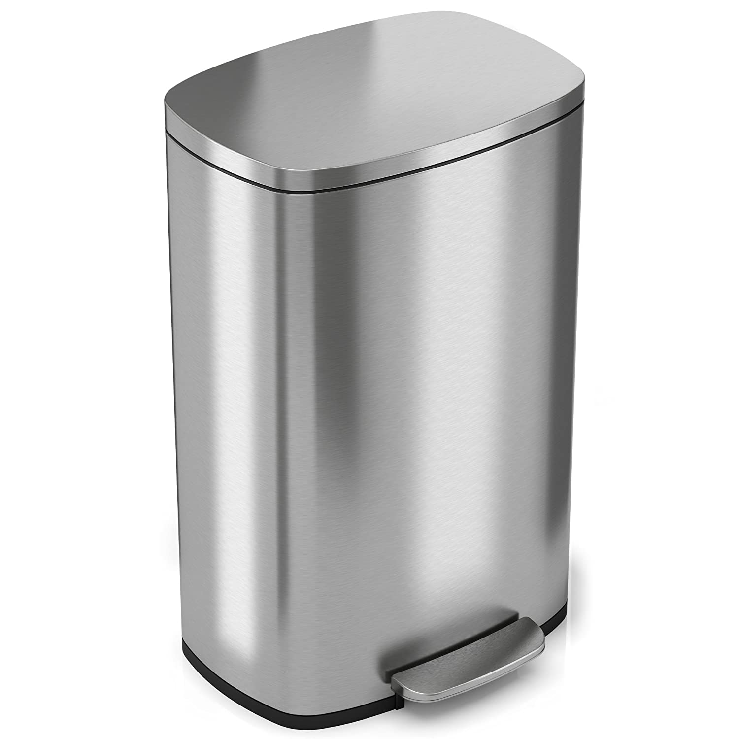 Design Kitchen Garbage Cans shop amazon com kitchen trash cans itouchless softstep 13 2 gallon stainless steel step can 50 liter pedal can