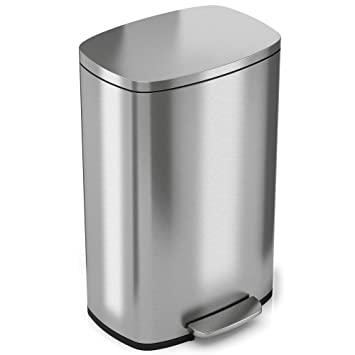itouchless softstep 132 gallon stainless steel step trash can 50 liter pedal kitchen trash can. Interior Design Ideas. Home Design Ideas